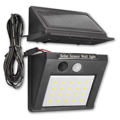 MASTER LED solární lampa 20SMD se senzorem soumraku a kabelem - studená bílá