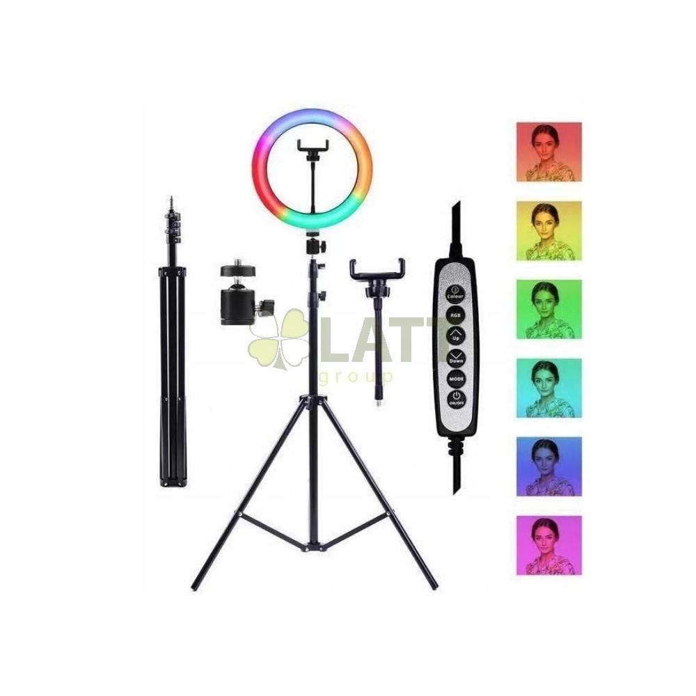 BERGE LED kruhové RING svítidlo 8805_8802 - RGB - CCT se stativem - 210 cm