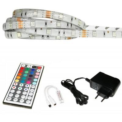 ECOLIGHT LED pásek - RGB 5050 - 2,5m - 30LED/m - 7,2W/m - IP65 - komplet - ovládání 44 tlačítek
