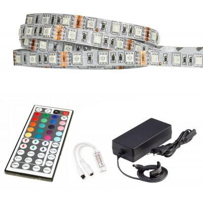 ECOLIGHT LED pásek - RGB 5050 - 2,5m - 60LED/m - 14,4W/m -IP20 - komplet - ovládání 44 tlačítek