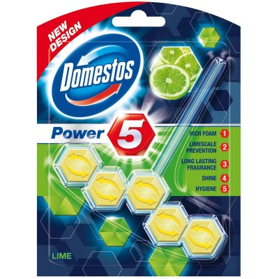 Domestos Power 5 tuhý WC blok Lime 55 g