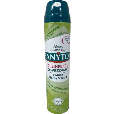 Sanytol dezinfekční osvěžovač vzduchu ve spreji, povrchů a textilií s vůní mentolu, 300 ml