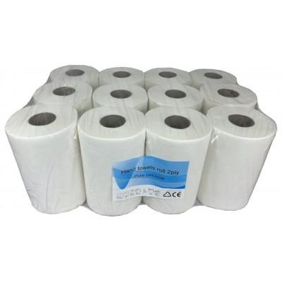 Papírový ručník v roli MIDI 2vrstvý 55m 100% celulóza bez potisku, 12ks/bal.