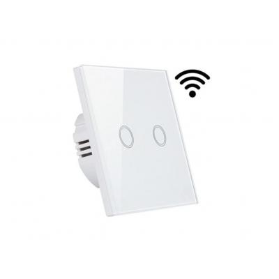 MILIO Dotykový skleněný bezdrátový dvojvypínač MK0005 - bílý