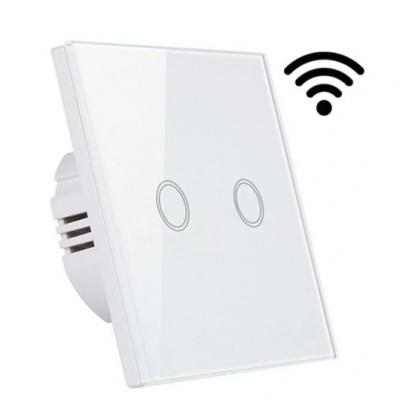 Dotykový skleněný bezdrátový dvojvypínač MK0005 - bílý