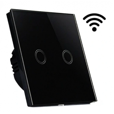 Dotykový skleněný bezdrátový dvojvypínač MK0006 - černý