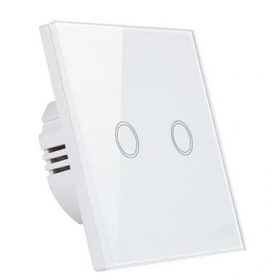 Dotykový skleněný dvojvypínač MK0003 - bílý