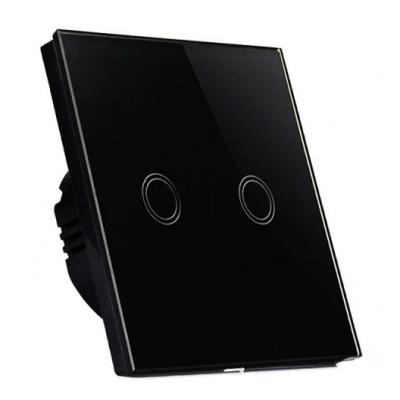Dotykový skleněný dvojvypínač MK0004 - černý
